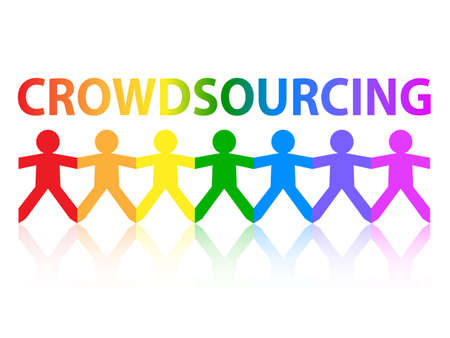 crowd source: Crowdsourcing cut out paper people chain in rainbow colors Illustration