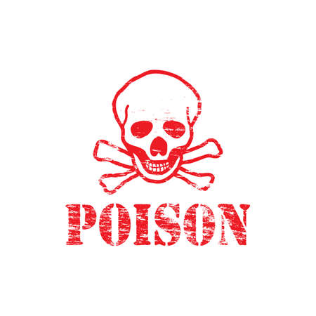 hazard: Poison text with skull and crossbones rubber stamp Illustration