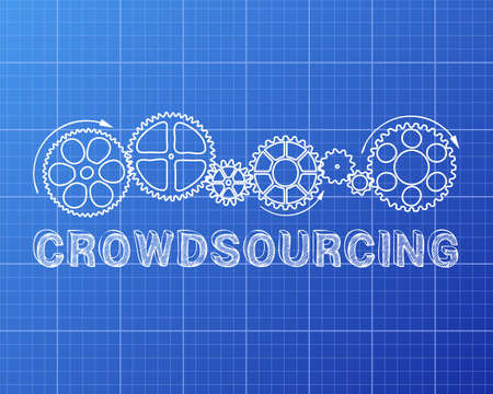 fondos negocios: Crowdsourcing text with gear wheels hand drawn on Blueprint background