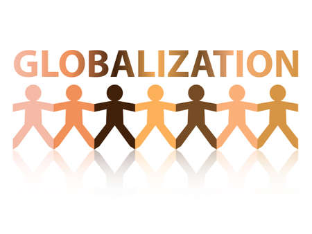 skin color: Globalization cut out paper people chain in different skin tone colors