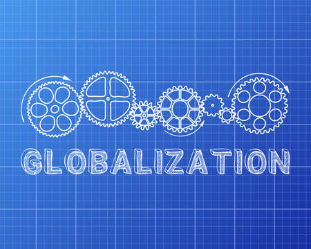 diversify: Globalization text with gear wheels hand drawn on Blueprint background Illustration