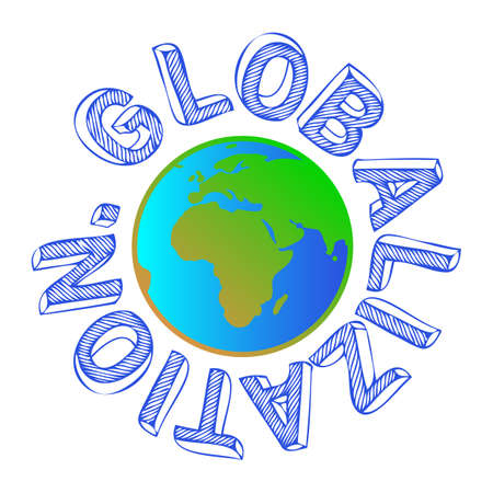diversify: Hand written globalization word around globe icon Illustration