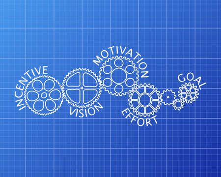 machinery machine: Incentive, motivation, vision, effort and goal on hand drawn gear wheels on blueprint background Illustration