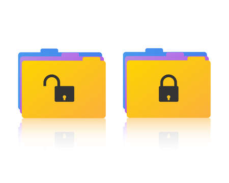 locked: Files icons with locked and open padlock symbols