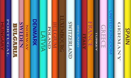 spines: Book spines with different European travel destinations Illustration