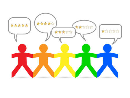 Cut out paper people with gold star ratings in speech bubbles