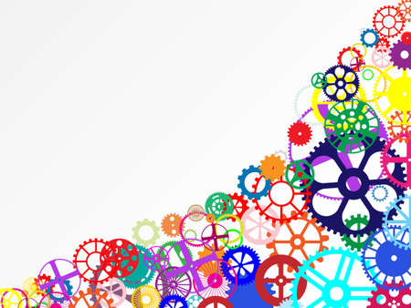 engineered: Gears and wheels. Artistic multicolored background illustration