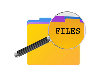 glass office: Colored office files under magnifying glass