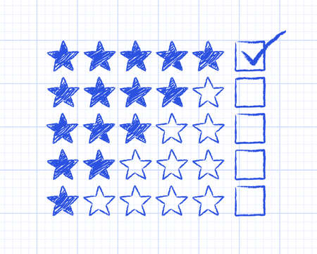 rating: Stars with five rating ticked on graph paper background