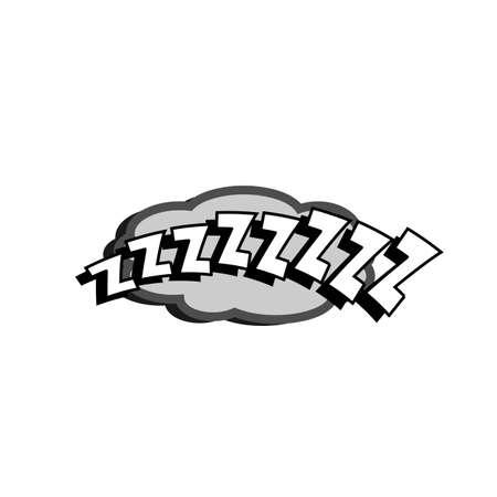 comedic: Cartoon sleeping z letters sound text caption illustration Illustration