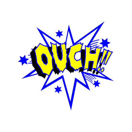 comedic: Cartoon ouch colorful text caption illustration