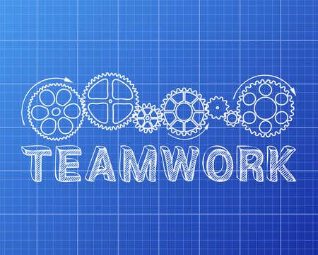 machinery machine: Teamwork text with gear wheels hand drawn on Blueprint background