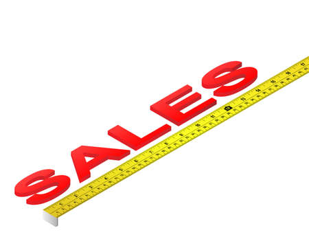Tape measure measuring sales word Ilustrace