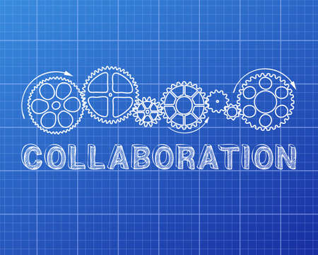 combined effort: Collaboration text with gear wheels hand drawn on blueprint background