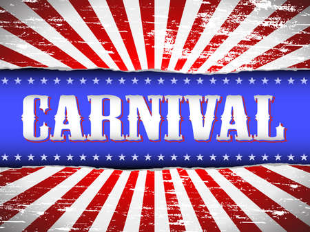 tattered: Red, white and blue grungy vintage carnival poster Illustration