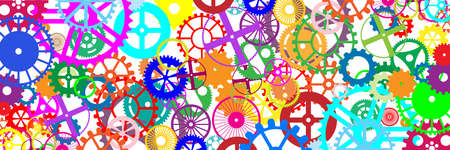 engineered: Gears and wheels. Artistic multicolored engineering banner illustration