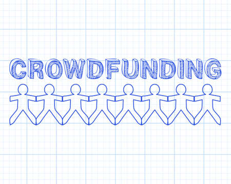 crowdsource: Crowdfunding hand drawn text and cut out paper people chain on graph paper background Illustration