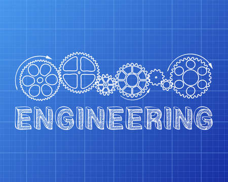 paper product: Hand drawn engineering sign and gear wheels on blueprint background