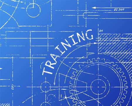 Training text with gear wheels hand drawn on blueprint machine background