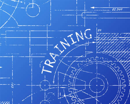 machinery machine: Training text with gear wheels hand drawn on blueprint machine background