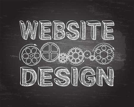 machinery machine: Website design in hand drawn letters with gear wheels on blackboard background