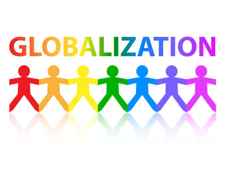 Globalization cut out paper people chain in rainbow colors
