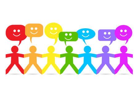 Schneiden Sie Papier Menschen in Regenbogenfarben mit glücklichem Gesicht Sprechblasen