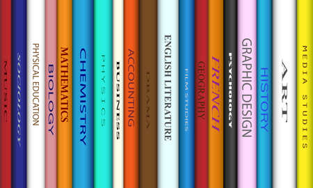 spines: Book spines with different college course titles