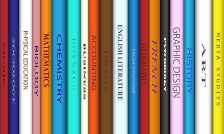 Buch Stacheln mit verschiedenen College-Titel Vektorgrafik