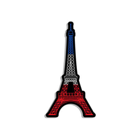 Eiffel Tower in Paris in French flag colors label illustration
