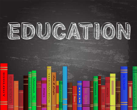 text books: Education word on blackboard with books background Illustration