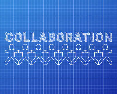 paper chain: Collaboration hand drawn text and cut out paper people chain on blueprint graph background Illustration