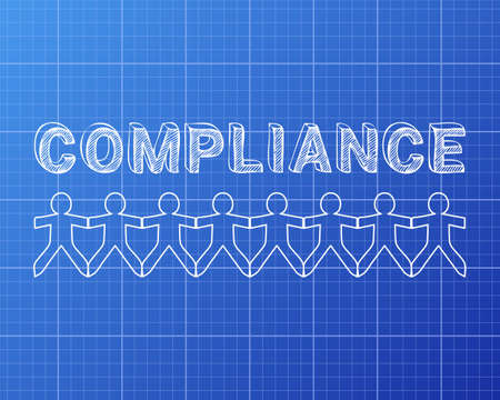 regulated: Compliance hand drawn text and cut out paper people chain on blueprint background Illustration
