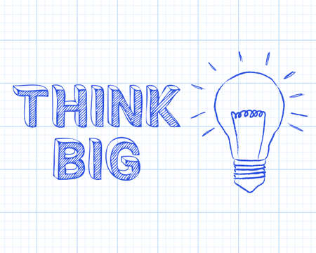 think big: Light bulb and think big text on graph paper background