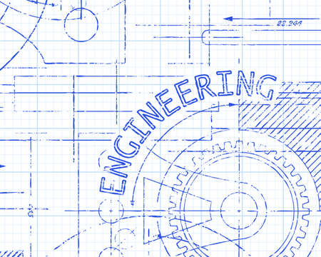 paper product: Hand drawn engineering sign and gear wheels machine on graph paper