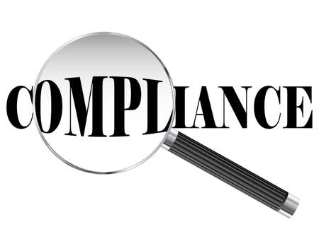 Compliance text viewed under magnifying glass illustration Vector Illustration
