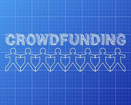 crowdsource: Crowdfunding hand drawn text and cut out paper people chain on blueprint background