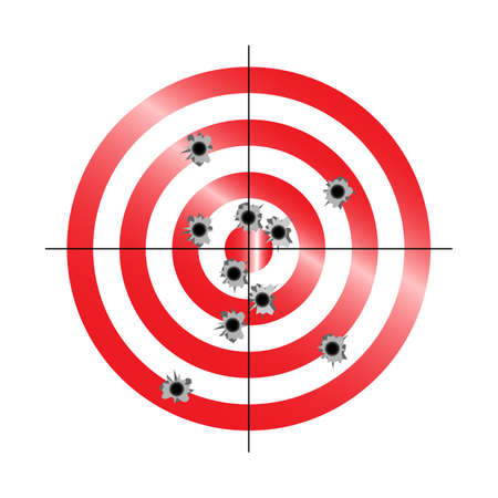 Red and white circular target with multiple gun shot holes