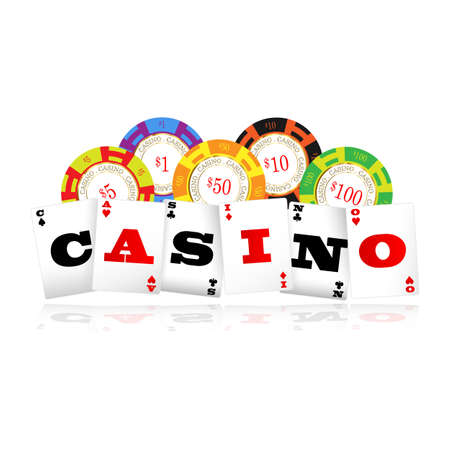 Playing cards casino word with poker chips logo Illustration