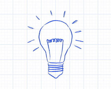 drawing paper: Light bulb drawing on graph paper background
