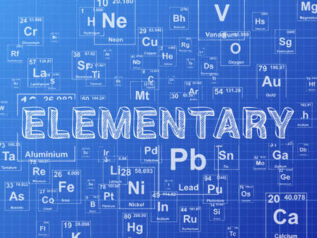 elemental: Elementary word on periodic table symbols blueprint background