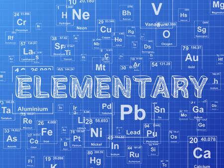 Elementary word on periodic table symbols blueprint background