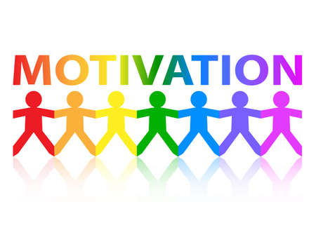 motivate: Motivation cut out paper people chain in rainbow colors Illustration