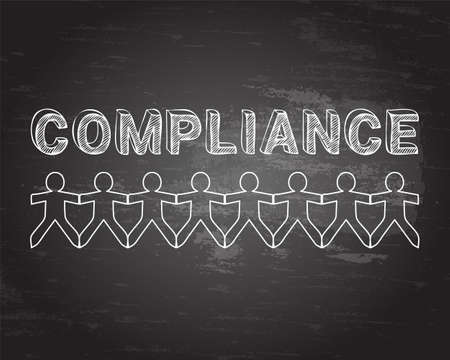 regulated: Compliance hand drawn text and cut out paper people chain on blackboard background Illustration