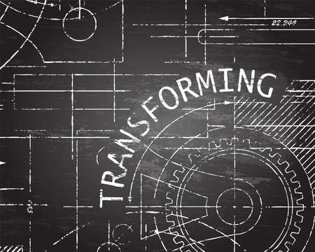 machinery machine: Transforming text with gear wheels hand drawn on blackboard machine background