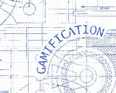 machinery machine: Gamification word on machine graph paper background illustration