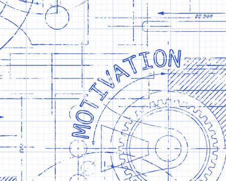 machinery machine: Motivation word on machine graph paper background illustration