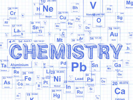 Chemistry word on periodic table symbols graph paper background