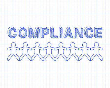 regulated: Compliance hand drawn text and cut out paper people chain on graph paper background