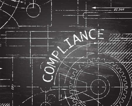 Compliance word with gear wheels on blackboard machine background illustration Vetores